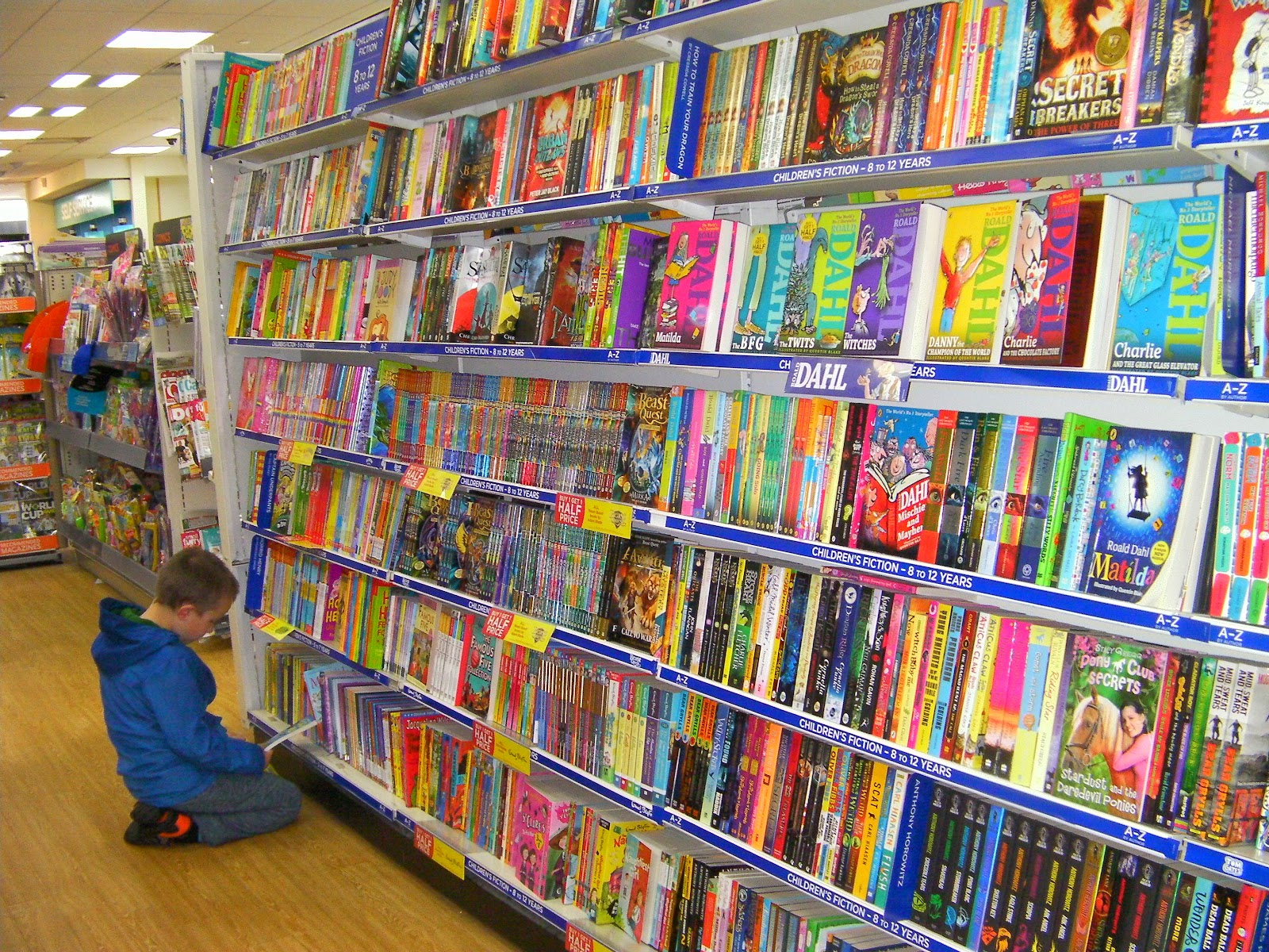 childrens book section at whsmiths stationers