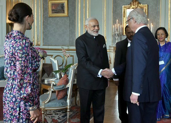 Crown Princess Victoria wore & Other Stories Floral Print Maxi Dress. Prime Minister Narendra Modi of India at Royal Palace. India-Nordic summit