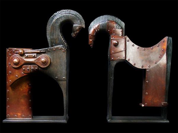 Escultura steampunk de caballos