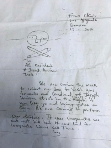 Choi! See the letter armed robbers wrote to Lagos community