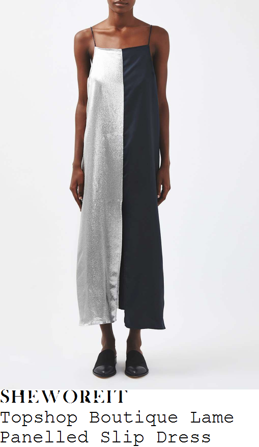 nicole-scherzinger-topshop-boutique-silver-and-navy-blue-colour-block-panel-detail-sleeveless-rouleau-strap-square-neckline-relaxed-fit-split-front-lame-and-silk-slip-midi-dress