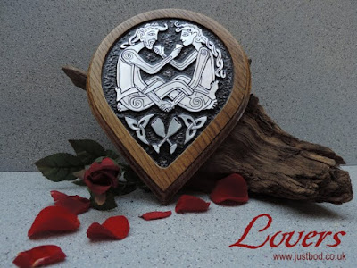 Celtic Lovers hand sculpted metal & oak plaque by bod