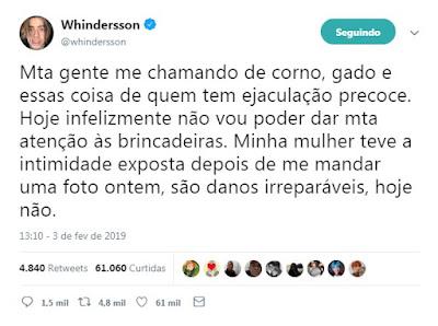 Whindersson Nunes se pronuncia após vazamento de foto íntima