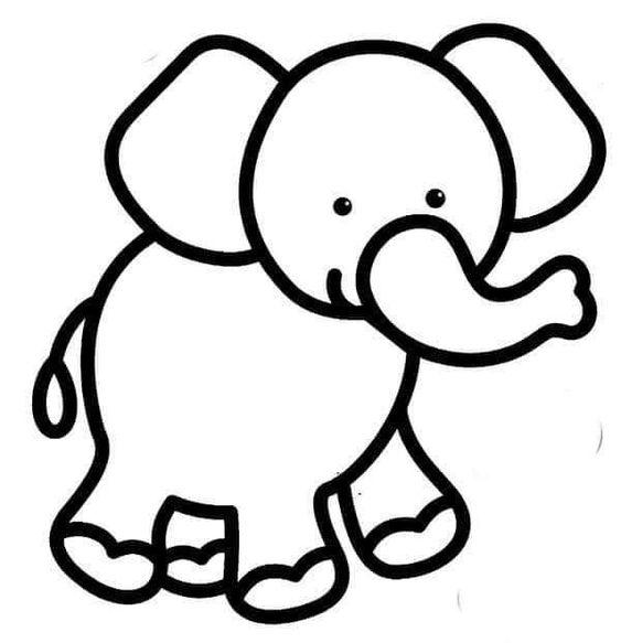Tranh tô màu con voi cho bé ba tuổi