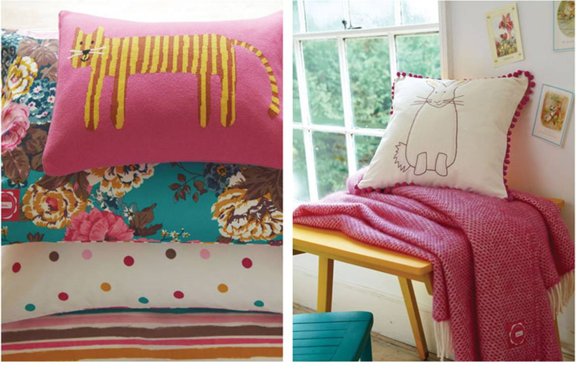 Cute and fun cushions from the new Joules homeware collection.