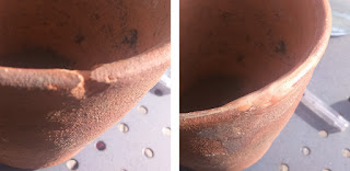 Terracotta pot repaired with Milliput