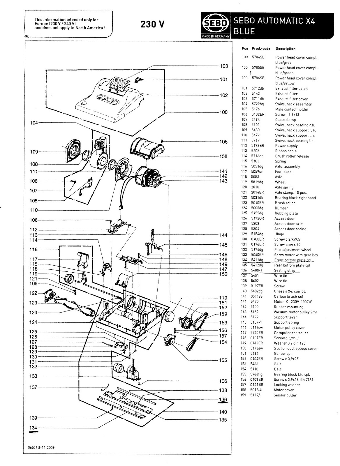 this is the parts diagram and exploded view for the sebo x4 vacuum with blue part numbers ideal for working out what you need and contacting  [ 1167 x 1600 Pixel ]