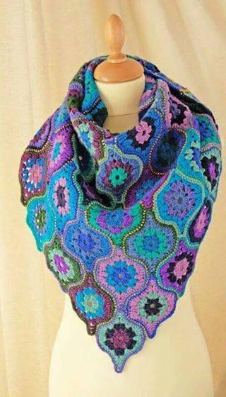 Patrón #1705: Bufanda de Carpetitas a Crochet