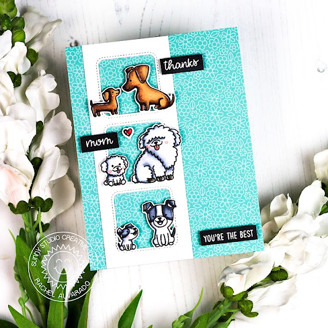 Sunny Studio Stamps: Puppy Parents Fancy Frames Dies Window Trio Dies Sunny Sentiments Parent Appreciation Cards by Rachel Alvarado and Lexa Levana