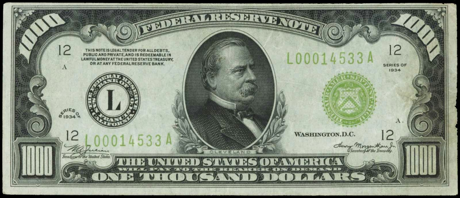 1934 One Thousand Dollar Federal Reserve Notes