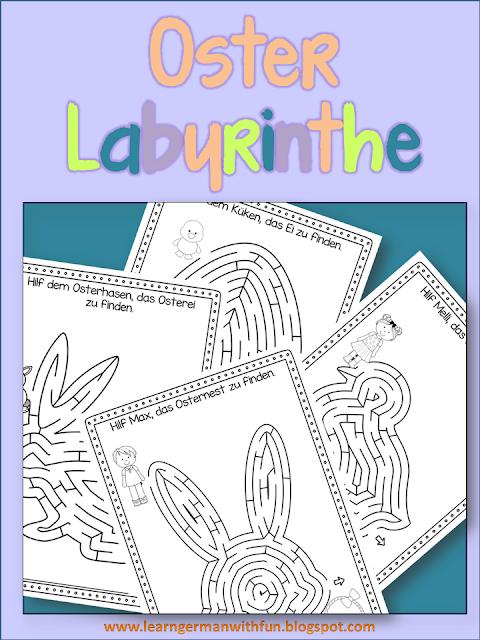 Vier tolle Labyrinth-Arbeitsblätter für Ostern. Toll für die Vorschule und Grundschule zur Osterzeit.
