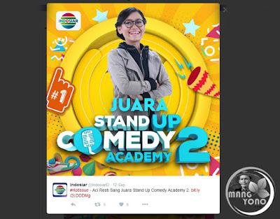 Aci Resti Sang Juara Stand Up Comedy Academy 2. Sumber Foto dari Twitter @IndosiarID