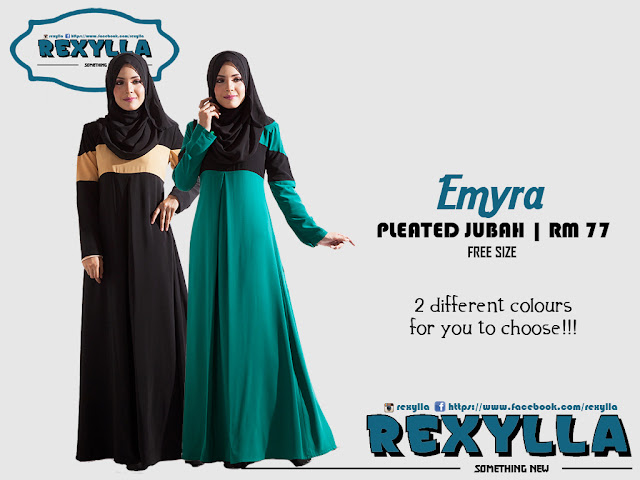 rexylla, jubah, pleated jubah, wudhu friendly, emyra collection