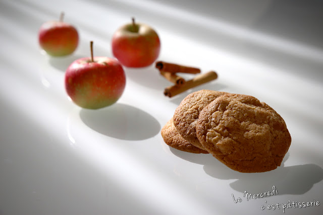Cookies aux pommes caramélisées et à la cannelle
