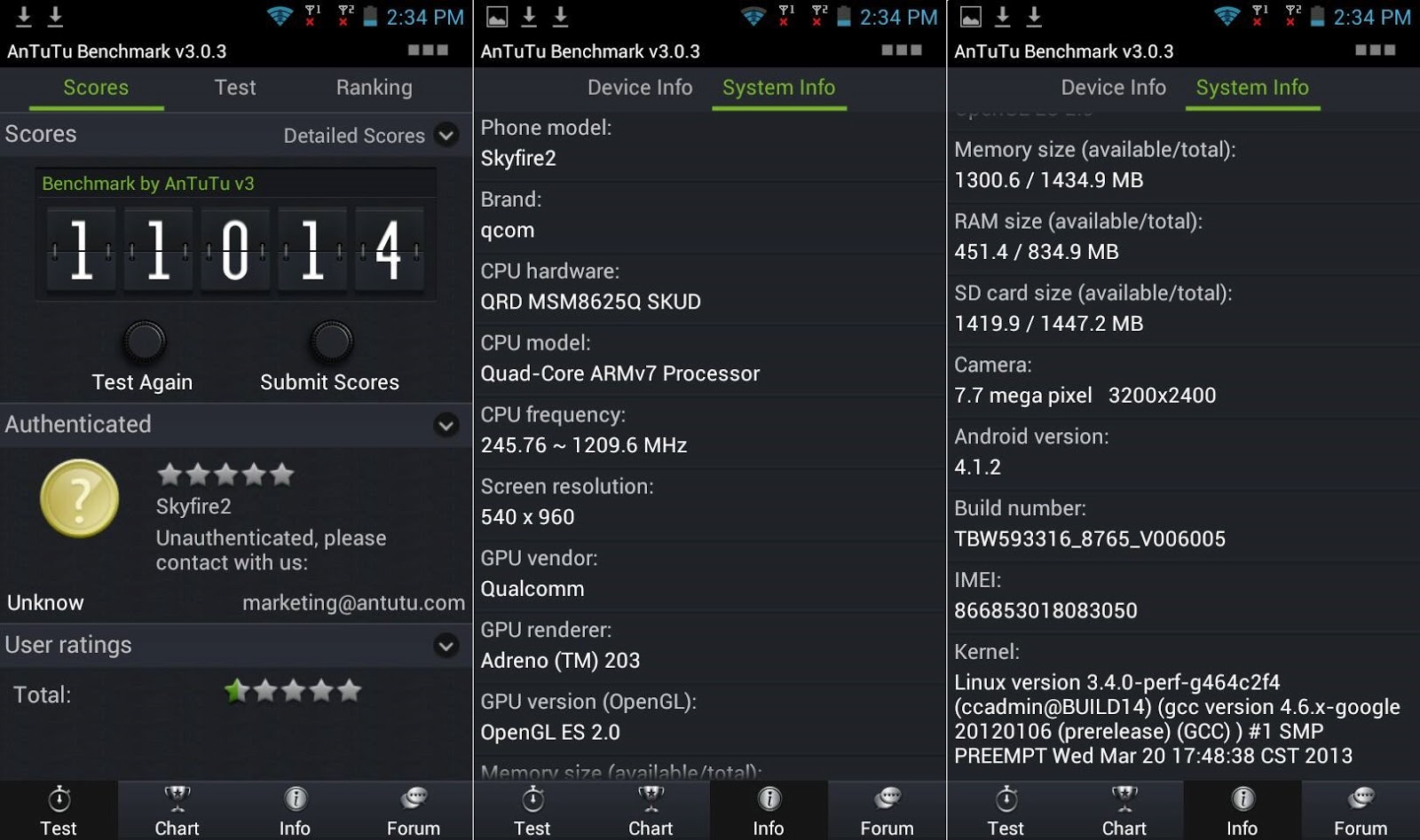 Cherry Mobile SkyFire 2.0 AnTuTu benchmark scores and system info
