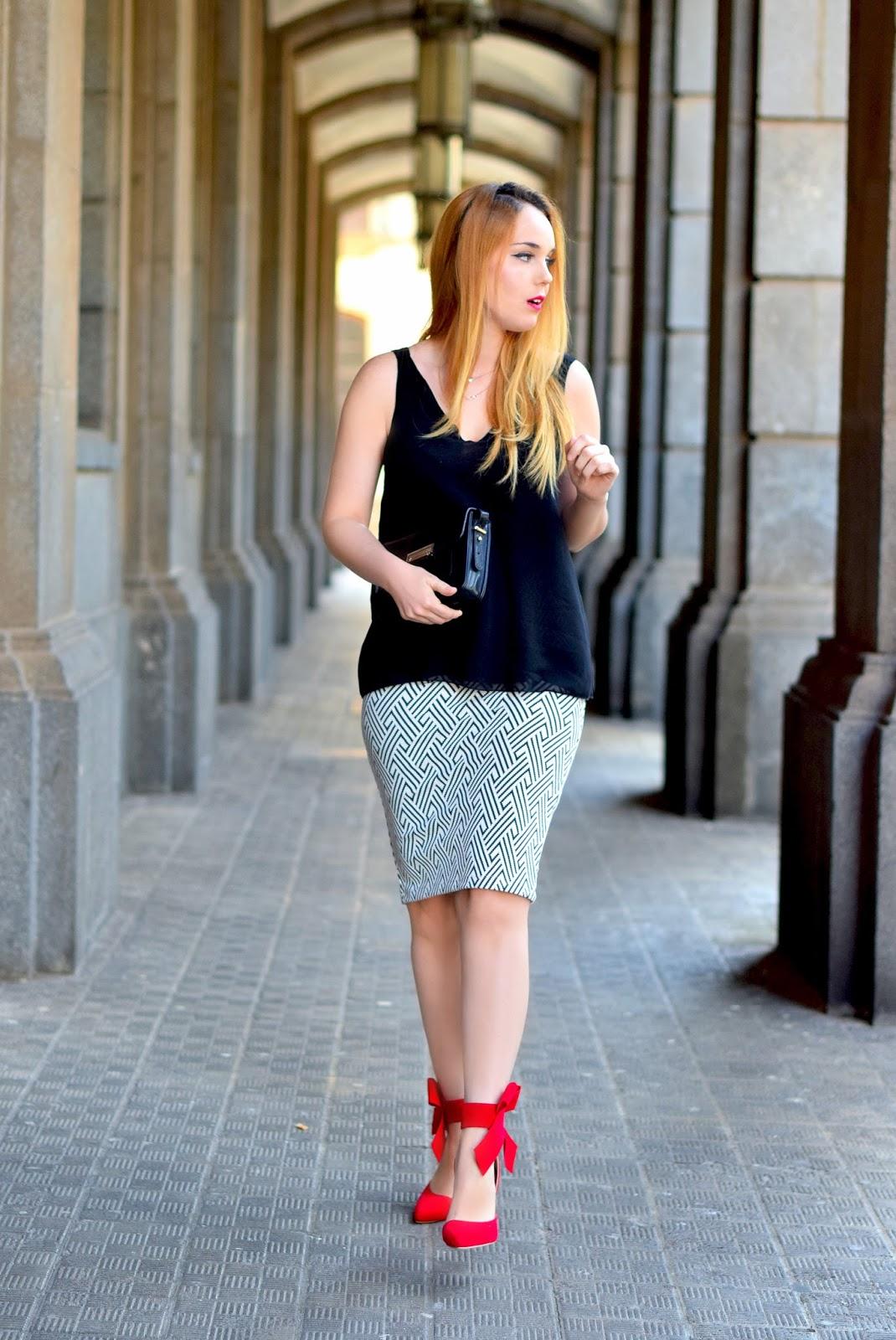 nery hdez, total look zara, sophia webster clon, geometric print, falda lápiz