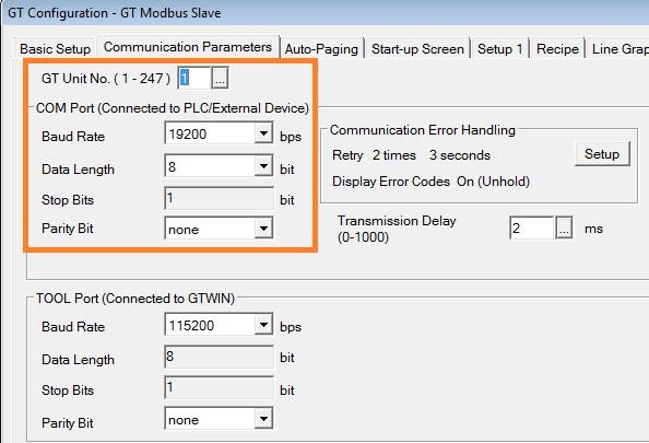 Modbus RTU Master tests with Arduino via RS232 and screen Panasonic
