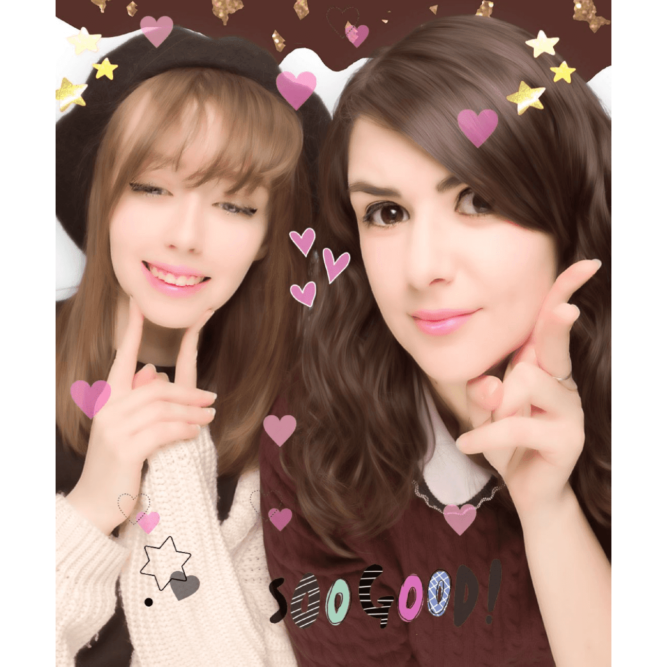 cute best friends purikura photo sticker