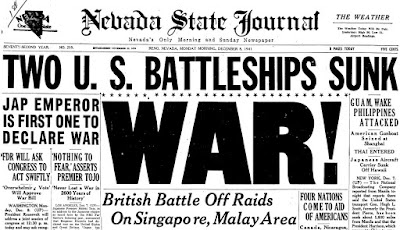 Titulares de periódicos del ataque a Pearl Harbor