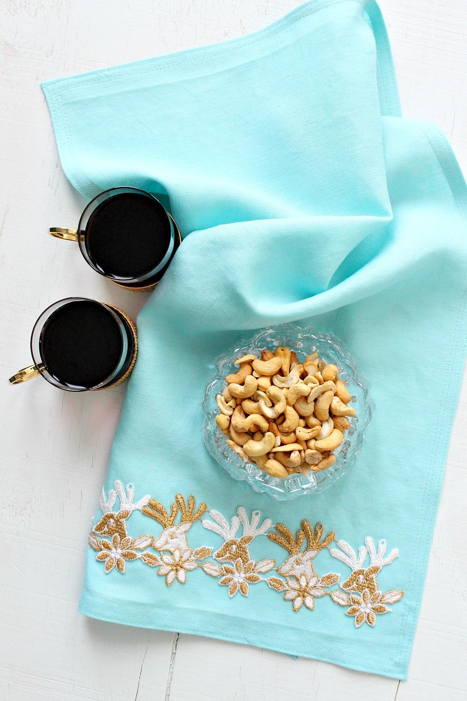 Turquoise Linen Tea Towel