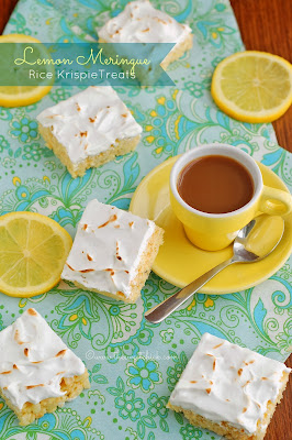 Lemon Meringue Rice Krispie Treats by The Sweet Chick