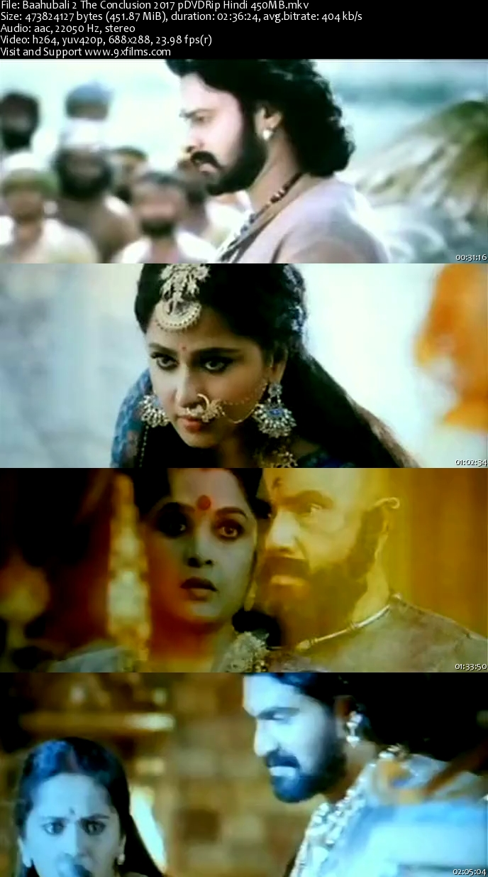 Baahubali 2 The Conclusion 2017 pDVDRip Hindi 700MB