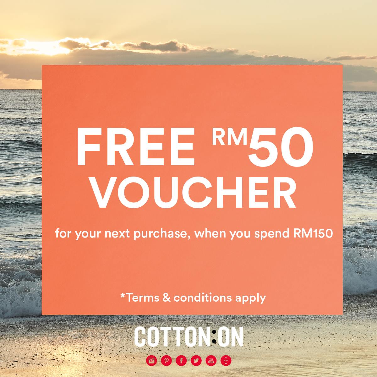 Cotton On Spend RM150 Get FREE RM50 Voucher for Next Purchase Until 10 May  2017