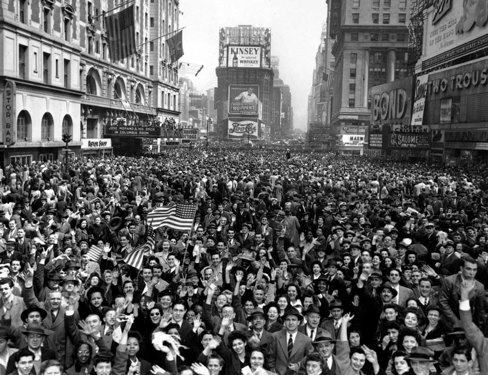 Looking north from 44th Street, New York's Times Square is packed Monday, May 7, 1945, with crowds celebrating the news of Germany's unconditional surrender in World War II.