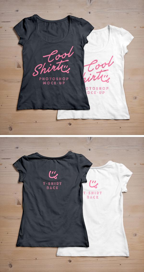 Download T-shirt Mockup PSD Terbaru Gratis - Woman T-Shirt MockUp PSD #2