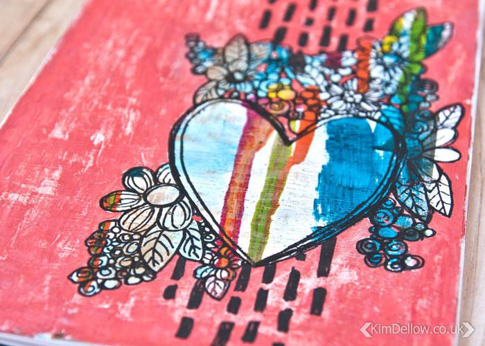 close up of How To Make A Gouache Paint And Paint Pen Art Journal Page video by Kim Dellow