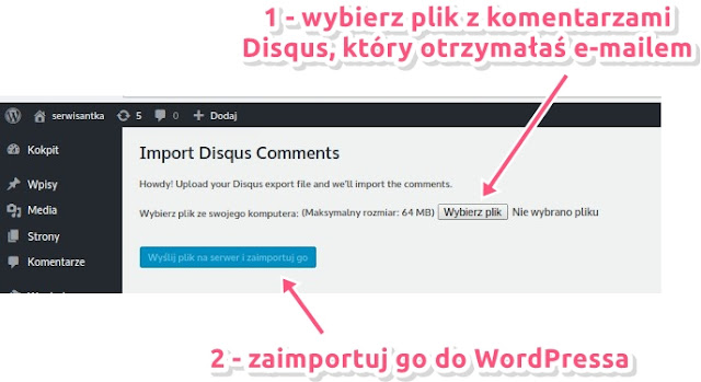 Jak zaimportować komentarze z Disqus do WordPressa (eksport i import)