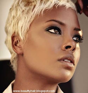 Black celebrities with short blond hair