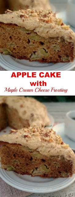 Easiest recipe for an Apple Cake with Maple Cream Cheese Frosting ~ always a Fall dessert or tea time favorite !