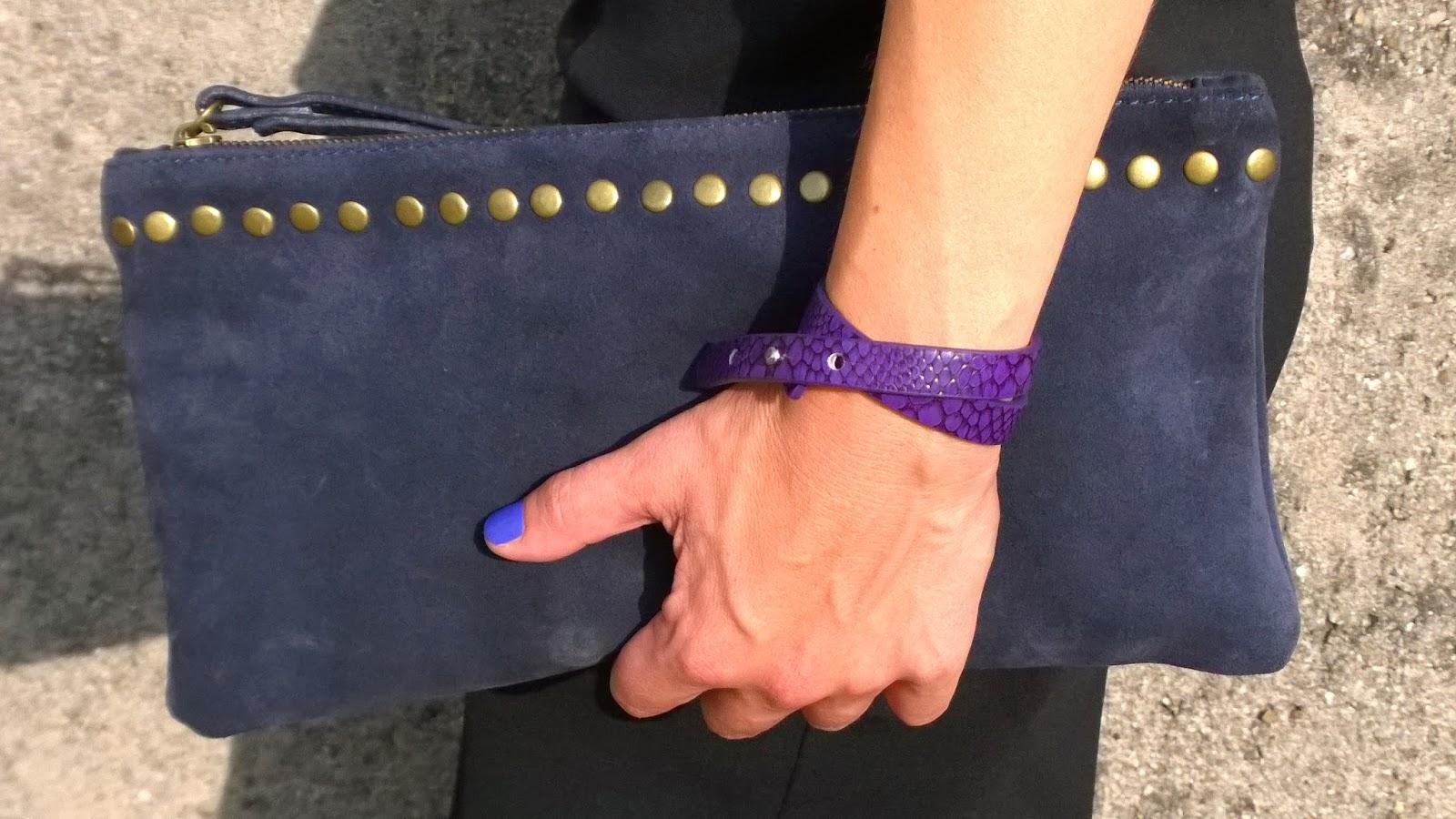 Blue suede clutch, snake skin effect bracelet