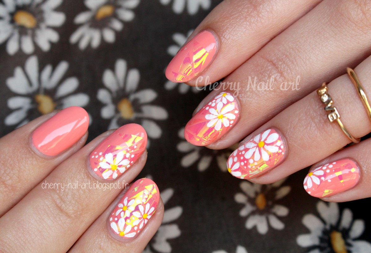 nail art glass nail et marguerites faciles