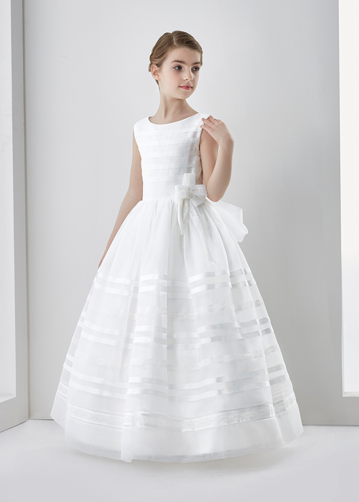 Scoop Neck Ball Gown Organza First Communion Dress With Bow