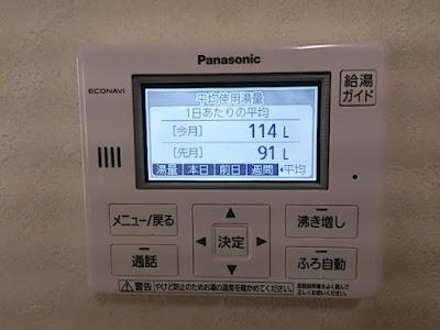 給湯器リモコンパネルの一日あたりの平均使用湯量データ