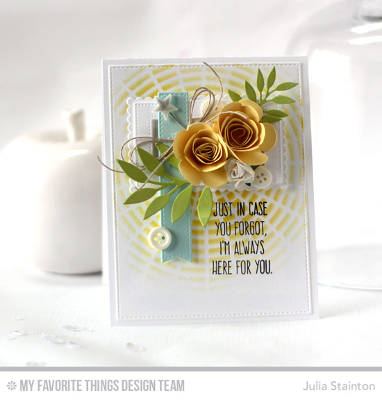 Always Here for You Card by Julia Stainton featuring the Lisa Johnson Designs Whimsical Greetings stamp set, and the Leafy Greenery, Rolled Scalloped Rose, Pierced Rectangle Frames, Stitched Mini Scallop Rectangle STAX, and Blueprints 13 Die-namics #mftstamps
