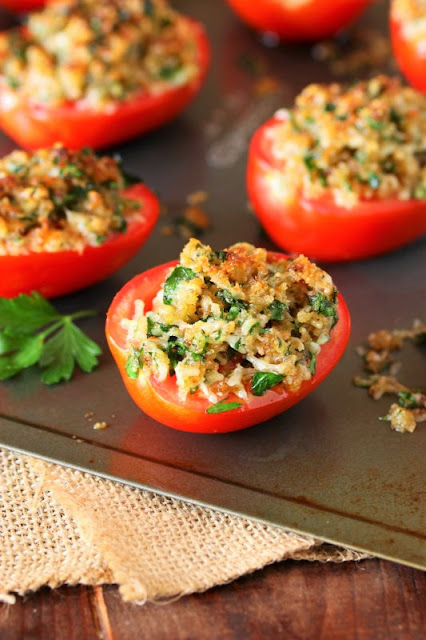 Parmesan Broiled Tomatoes ~ This super quick & easy way to enjoy fresh tomatoes goes from prep to table in just minutes.