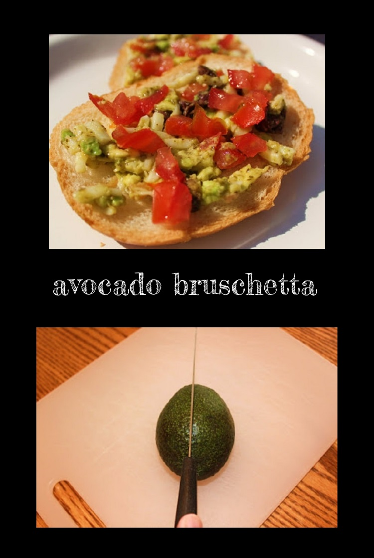 this is an avocado bruschetta and guacamole recipe dip with avocado, tomatoes, olives with a lime dressing served on top of vegetables or toasted garlic bread