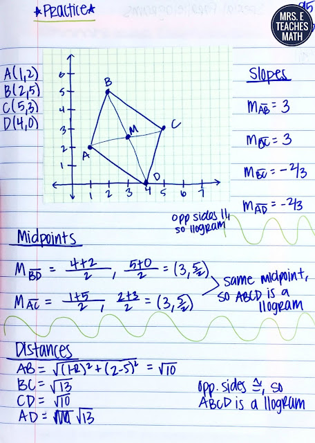 interactive notebook page idea for parallelograms on the coordinate plane