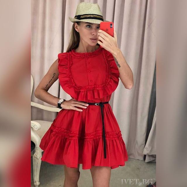 Αμάνικο κοντό  κόκκινο φόρεμα ANETA RED