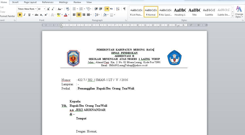 Download Contoh Surat Panggilan Orang Tua Dari Sekolah