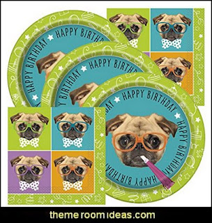 Pug Themed Birthday Party supplies  puppy themed birthday party -  kids dog theme birthday party - dog birthday party decorations - Puppy Birthday Party Supplies - pet party paw prints - dog bone shaped decorations - kids birthday pet theme party - furbabies birthday party - pooch party