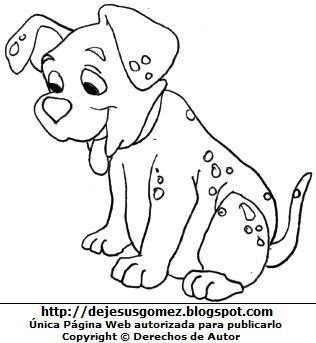 Dibujo de perro doméstico sentado para colorear, pintar e imprimir. Dibujo de perro hecho por Jesus Gómez