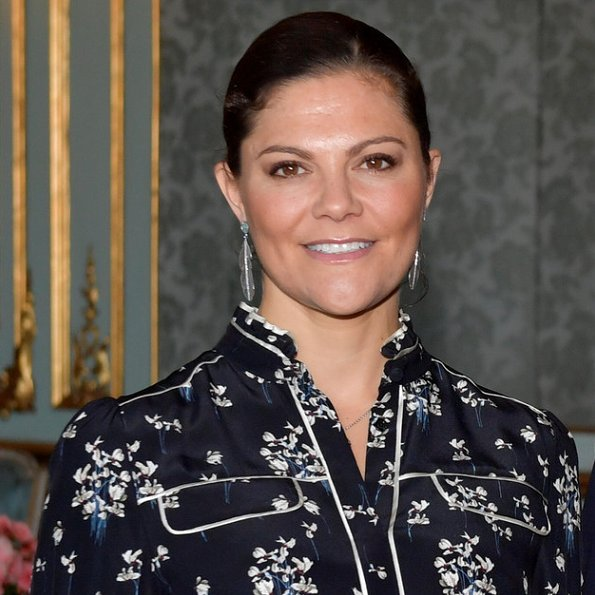 Crown Princess Victoria wore Erdem x H&M printed blouse and Kreuger Jewellery Summer Feather Earrings