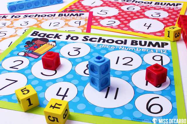 Back to School BUMP math game for partner math: This post contains a BIG collection of fun and engaging activities, lessons, and ideas for the first week of school! - by Miss DeCarbo