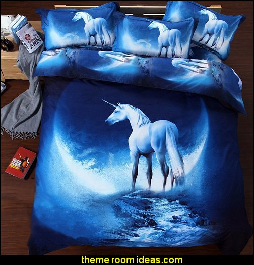 Blue Unicorn Queen Size Bedding  unicorn bedding - unicorn decor - unicorn duvet - fantasy theme bedroom decorating ideas - fairytale bedrooms decor - pegasus decor - unicorn wall murals - unicorn wall decals