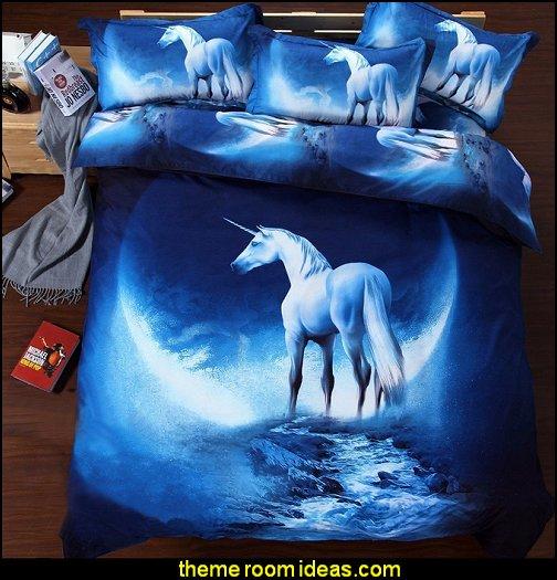Blue Unicorn Queen Size Bedding  unicorn bedding - unicorn decor - unicorn duvet - fantasy theme bedroom decorating ideas - fairytale bedrooms decor - pegasus decor - unicorn wall murals - unicorn wall decals