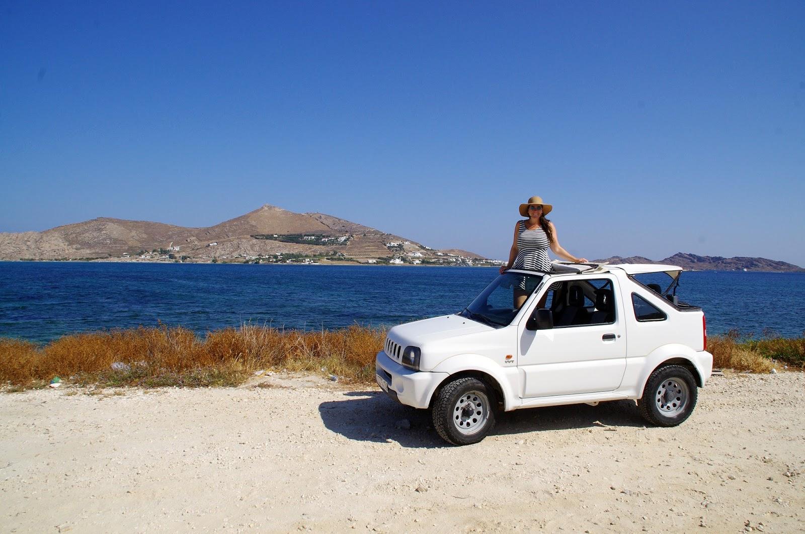 Girl with Suzuki on Paros Island Greece